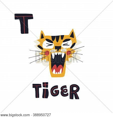 T Letter And Cute Funny Little Roaring Tiger Muzzle With Open Mouth. Vector Hand-drawn Design With L