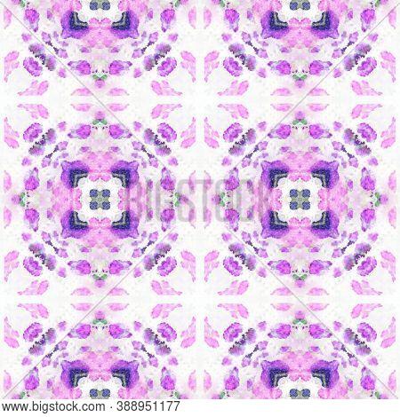 Swimwear Fabric Design.  Rainbow Natural Ethnic Illustration. Indigo And Pink Textile Print. Tribal