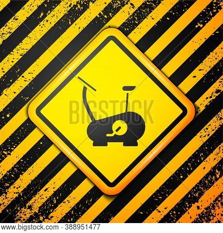 Black Stationary Bicycle Icon Isolated On Yellow Background. Exercise Bike. Warning Sign. Vector