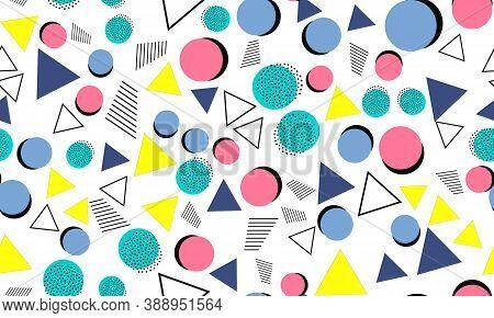 Doodle Fun Background. Seamless Pattern. Summer Doodle Backdrop. Seamless 90s. Memphis Pattern. Vect