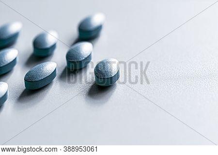 Mint Pills As Herbal Medication, Pharma Brand Store, Probiotic Drugs As Nutrition Healthcare Or Diet