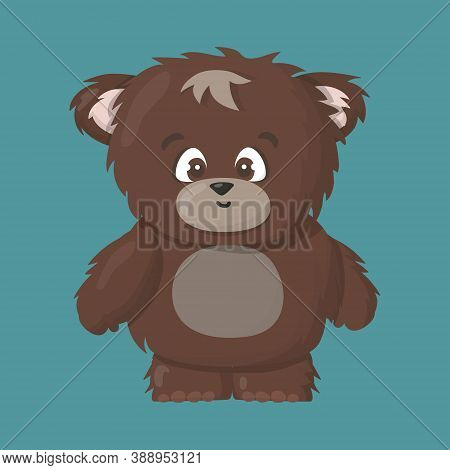 Brown Grizzly Smiling Happy Bear Cartoon Vector Art Illustration On Blue Background