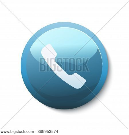 Blue Shiny Button With White Icon Of Phone Handset On It. Symbol Of Communication And Mobile Connect