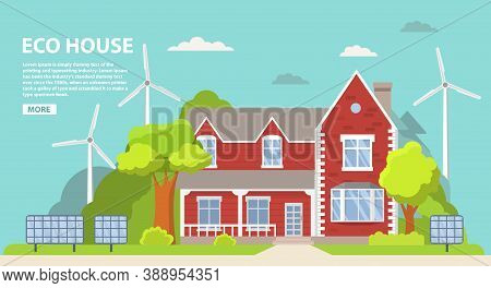 Green Energy An Eco Friendly Suburban American House. Solar Panel, Wind Power.family Home.townhouse