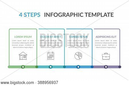 Infographic Template With Four Elements, Workflow, Process Chart, Steps Or Options, Vector Eps10 Ill