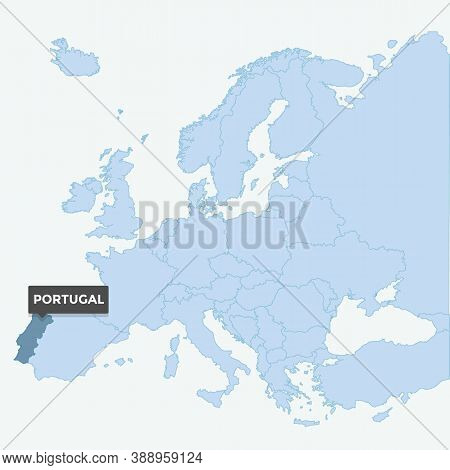 Europe Map With The Identication Of Portugal. Map Of Portugal. Location, Information Design. Vector