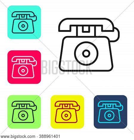 Black Line Telephone With Emergency Call 911 Icon Isolated On White Background. Police, Ambulance, F