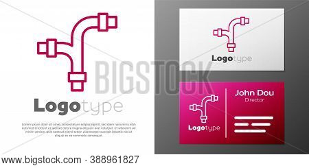 Logotype Line Industry Metallic Pipe Icon Isolated On White Background. Plumbing Pipeline Parts Of D
