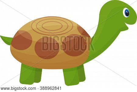 Cute Turtle Character, Childish In Cartoon Style Isolated On White Background. Funny, Happy Tortoise