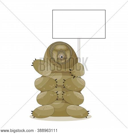 Brown Cute Cartoon Tardigrade Character Holds Empty Text Box In Hand