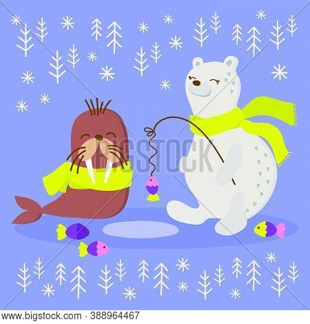 Alaska Walrus Winter Fishing Polar Bear Comic Funny Animal Flat Design Cartoon Hand Drawn Vector Ill