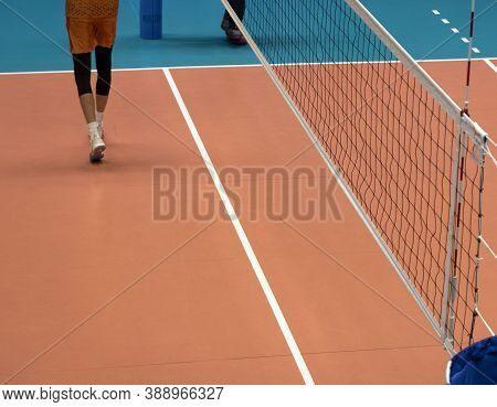 Volleyball Net. Training Players Before The Match.