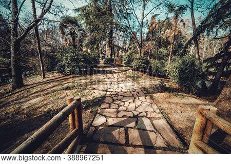 Walk Path In Buen Retito Park In Madrid, Spain