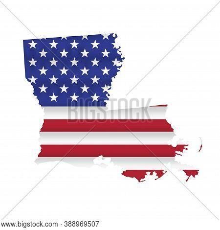 Louisiana Us State Flag Map Isolated On White. Vector Illustration.