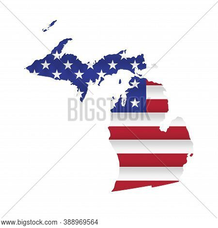 Michigan Us State Flag Map Isolated On White. Vector Illustration.