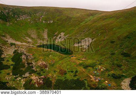High Altitude Lake Of The Ukrainian Carpathians, Lake Brebeneskul, The Pearl Of The Carpathians, A C