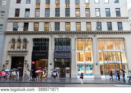 New York, Usa - July 1, 2013: People Shop At 5th Avenue, New York. 5th Avenue Is Ranked The Most Exp