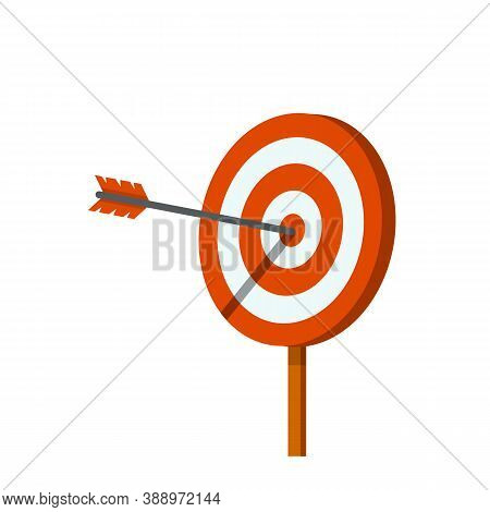 Target For Arrows. Hit On Target. Red And White Aim. Business Concept Several Attempts. Competition