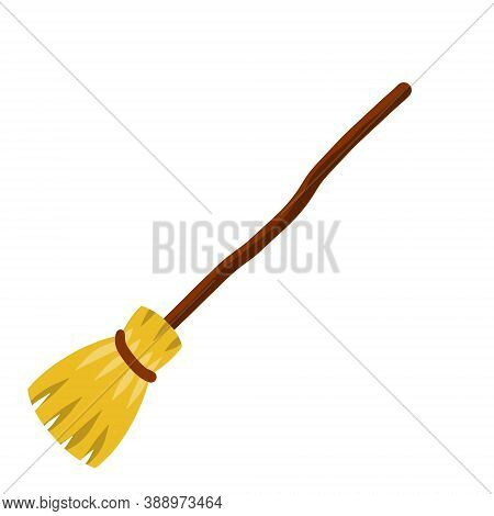 Broom. Sweeping And Old Wooden Mop In Wooden Handle. Element Of Witch. Cartoon Flat Illustration. Ru