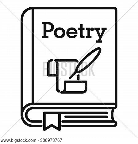 Literary Poetry Book Icon. Outline Literary Poetry Book Vector Icon For Web Design Isolated On White