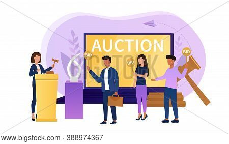 Online Auction Concept. Auctioneer Standing Behind Lectern With Auction Hammer. Group Of People Stan