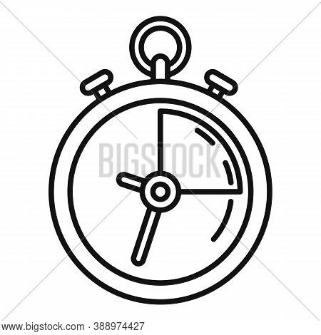Deadline Stopwatch Icon. Outline Deadline Stopwatch Vector Icon For Web Design Isolated On White Bac