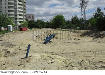 Laying Of Underground Communications At A Construction Site