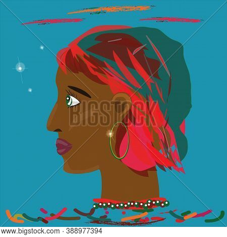 Dark red-haired girl with beads on an blue background, drawing