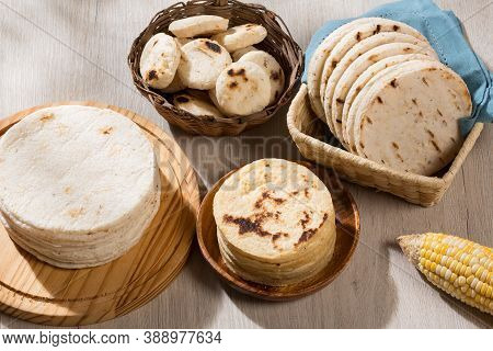 Typical South American Food - Different Types Of Corn Arepas.