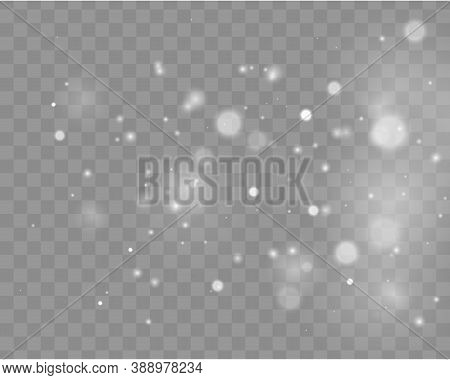 Bokeh Lights Effect Isolated On Transparent Background. Festive White Luminous Background. Light Abs
