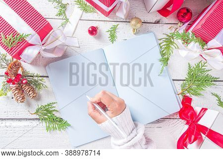 Christmas Composition With Notebook