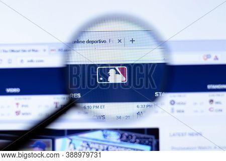 New York, Usa - 29 September 2020: Mlb Mlb.com Company Website With Logo Close Up, Illustrative Edit