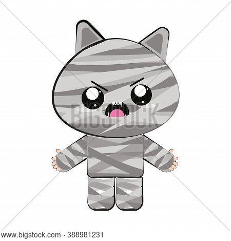 Cartoon Of A Mummy Kawaii. Mummy Halloween Costume - Vector