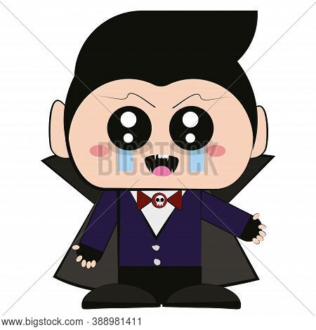 Cartoon Of A Vampire Kawaii. Vampire Costume - Vector