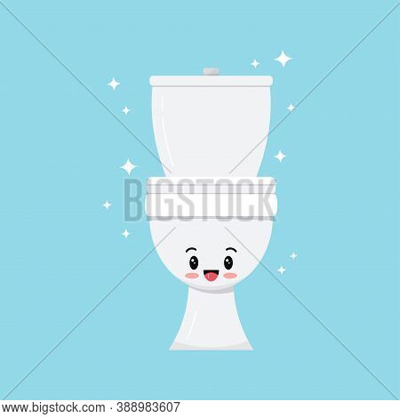 Cute White Smilling Toilet Bowl Character Vector Icon. Sweet Happy Emoticon Of Ceramic Bathroom Toil