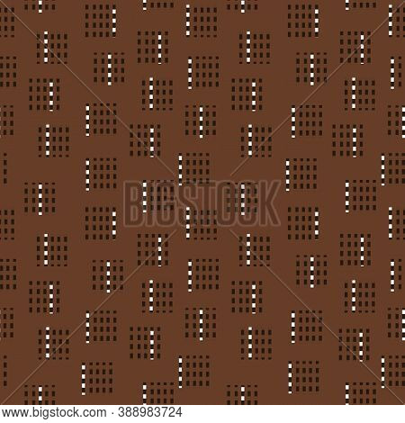 Abstract Brown Seamless Pattern With White, Black, Dark Brown Colors, Lines, Dots And Other Elements