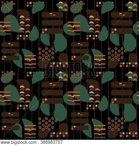 Brown, Green, Black Abstract Seamless Pattern With African Motives, Dots, Lines, Avocado Forms