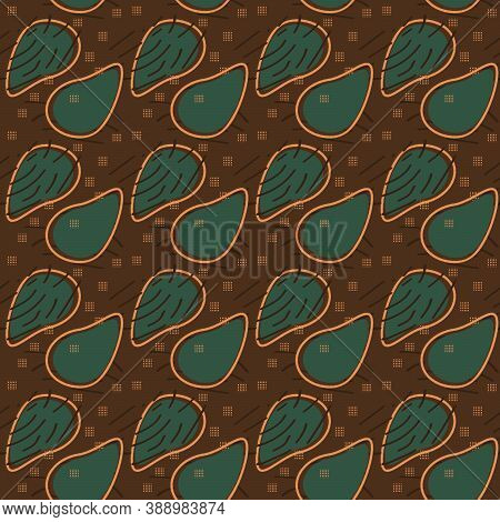 Brown, Green And Black Abstract Seamless Pattern With African Motives, Dots, Lines, Avocado Forms
