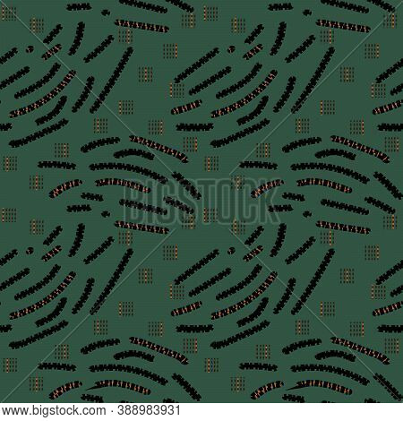 Abstract Green Seamless Pattern With Gold, Black, Dark Brown Or Yellow Colors, Lines, Dots And Other