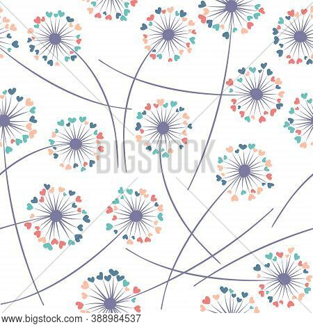 Dandelion Blowing Plant Vector Floral Seamless Pattern. Cute Flowers With Heart Shaped Fluff Flying.