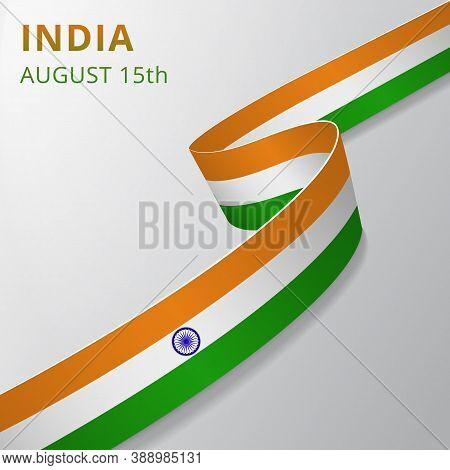 Flag Of India. 15th Of August. Blue Ashoka Wheel. Chakra. Vector Illustration. Wavy Ribbon On Gray B