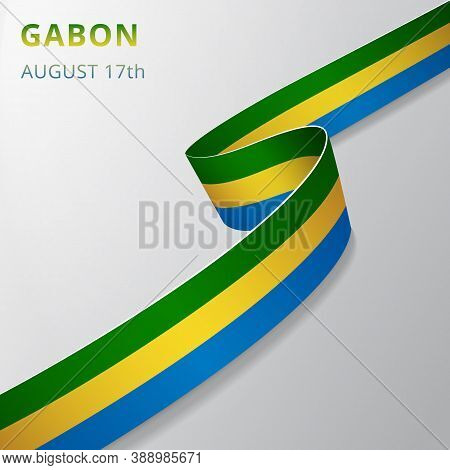 Flag Of Gabon. 17th Of August. Vector Illustration. Wavy Ribbon On Gray Background. Independence Day