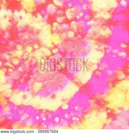 Abstract Dye. Hippie Circle Pattern. Orange Color Shirt. Spiral Multi Dress. Artistic Background. Ba