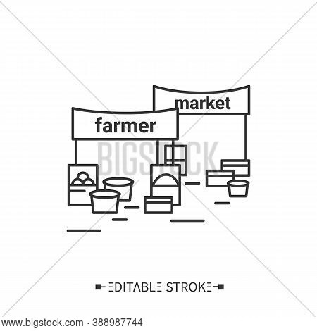 Farmers Market Line Icon. Farm, Natural Eco Products Fair. Gmo Free, Organic Produce. Street Marketp