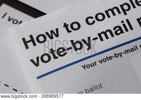 Vote By Mail, Business Document Mail Concept.
