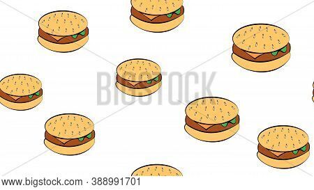 Appetizing Burgers On A White Background, Vector Illustration. Pattern With Bright, Colorful Burgers