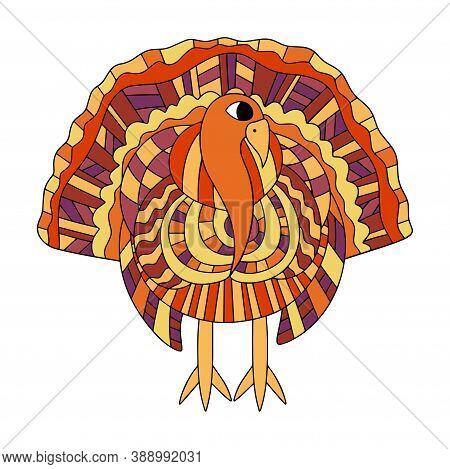 Funny Colorful Turkey Birg White Isolated Stock Vector Illustration. Motley Cartoon Turkey With Yell