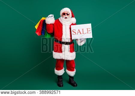 Full Length Body Size View Of His He Nice Fat Cheery Amazed Santa Father Carrying Gifts Presents Bar