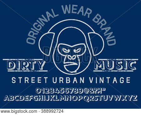 Original Vintage Denim Print For T-shirt Or Apparel. Old School Vector Graphic For Fashion And Print
