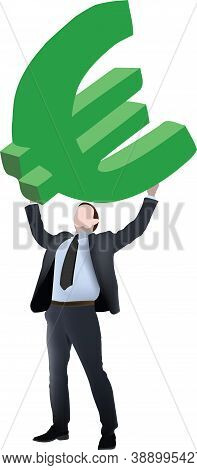 Executive Man Successfully Raises Euro Symbol Executive Man Successfully Raises Euro Symbol